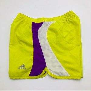 Adidas Neon/Purple/White Lined Athletic Shorts